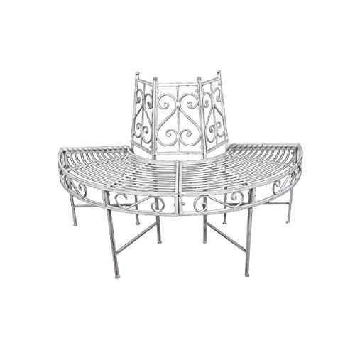 Unbekannt VARILANDO® Baumbank-Hälfte aus Metall in Zwei nostalgischen Varianten Gartenbank Rund-Bank Metallbank (Antik-Weiß)