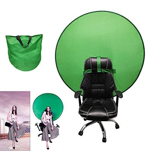 AMZBEST Greenscreen Stuhl, Faltbar und Einfach Zu Speichern Remote Arbeit Greenscreen Hintergrund, Green Screen Chair mit Tragetasche für Fotografie Home Office Videoaufzeichnung (M)