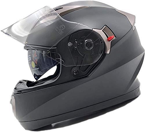 NATHUT Motorradhelm Integralhelm mit Sonnenblende - Motorrad Helm - Bluetooth Ready - ECE (XL 60-62cm, schwarz matt)