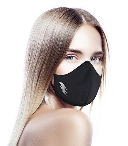 CHIC&LOVE | Banda Facial Negra para Mujer con Diseño Original con Cristales | AntiPolvo y AntiPolen Negra Estampado y Lavable hasta 25 Lavados | Para ir a la Moda y Fashion (Rayo)