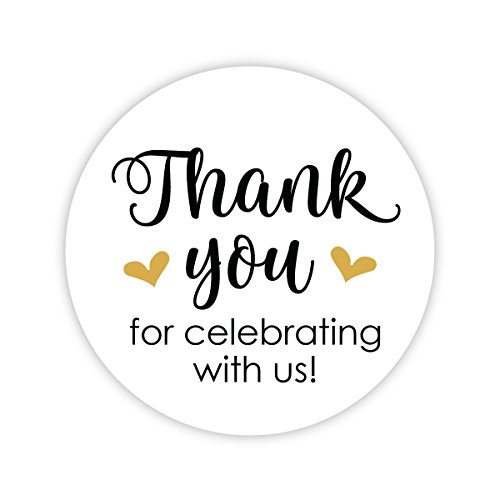 Thanks for Celebrating With Us Stickers, Wedding and Event Favor Labels (#265-GL)