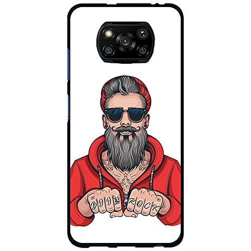 Funda Negra para [ Xiaomi Poco X3 / Poco X3 Pro ], Carcasa de Silicona Flexible TPU, diseño: Hombre Hipster, Tatuajes con Barba y Gafas de Sol