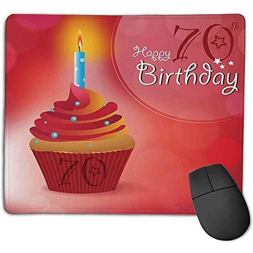 70 Verjaardag decoraties zonnestralen als achtergrond met party cupcake afbeelding rood en oranje voor laptop computer PC-toetsenbord