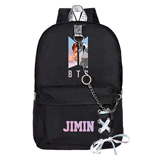 ALTcompluser Kpop BTS World Daypack Rucksack mit Kette Band, Schulrucksack Schultasche Mädchen Jungen für Wandern/Reisen/Camping(Jimin)