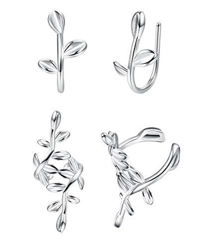 Sllaiss 2 Pares 925 Hoja de Plata Esterlina Ear Cuff para Mujeres Sin Piercing Cartilage Cuff Wrap Pendientes Hipoalergénico