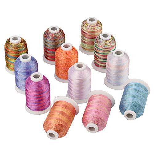 Simthread Multi-Farben Polyester Maschinen Stickgarn - 1,000 Meters, für Brother, Babylock, Bernette, Janome, Kenmore, Singer, W6 N 5000 Stickmaschine und Nähmaschine (12 Faben - MU)