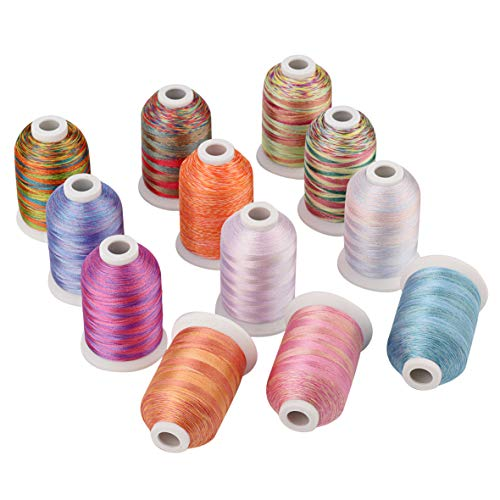 Simthreads 12 Multi Color Variegated Color Embroidery Machine Thread 1000 Meters Each for Janome Brother Pfaff Babylock Singer Bernina Husqvaran and Most Home Sewing Embroidery Machines