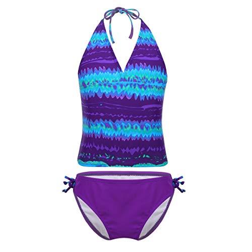 iiniim Traje de Baño para Niñas Dos Piezas Bañador Estampado Bikini Conjunto Halter Ropa de Baño Playa Braguitas + Top Tankini Set Morado 13-14 años