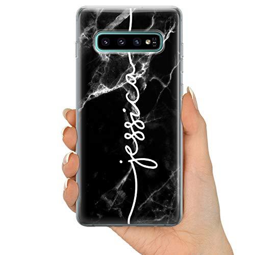 TULLUN Personalisierte Handyhülle für Samsung Galaxy S9 - Klare Soft Gel Benutzerdefinierte Schwarzer Marmor Marble Weiß Name Buchstabe Initialen Name Text - Name V2