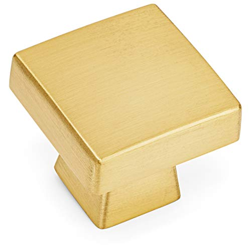 10 Pack - Cosmas 5233BB Brushed Brass Contemporary Square Cabinet Knob