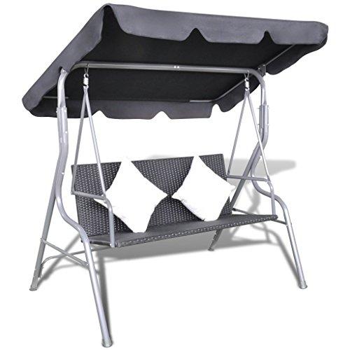 Anself Rattan Hollywoodschaukel Gartenschaukel 2-Sitzer mit Sonnendach und Kissen Schwarz