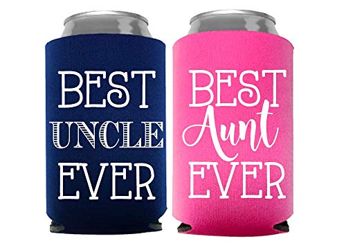 Best Aunt and Uncle Ever Can Coolers, Set of 2, 1 Pink and 1 Navy Blue Beer Can Coolies, New Aunt Gifts, Novelty Can Cooler, Perfect Birthday, Gender Reveal Gift, Baby Announcement (Aunt And Uncle)