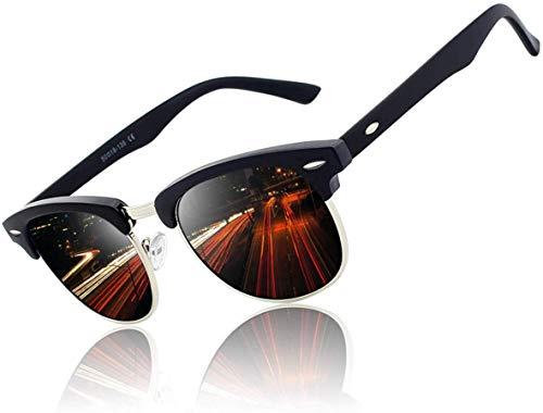 WGL Gafas de sol, gafas de sol para mujer, gafas de sol de media montura de inspiración premium con remaches de metal, 1-56 negro mate-gris