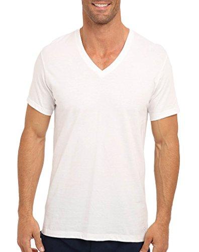 Calvin Klein – Paquete de camisetas clásicas de algodón con cuello en V para hombre, Cotton Classics Multipack camisetas con cuello en V, L, Blanco
