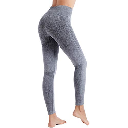 Aoxjox Seamless Leggings for Women High Waisted Ombre Gym Workout Yoga Pants (Black Grey/Grey, Small)