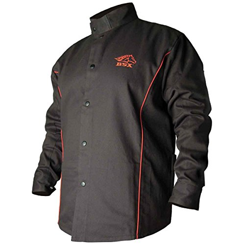 Revco BSX B9C 9oz. Black/Red Cotton Welding Jacket, Flame Resistant 2X
