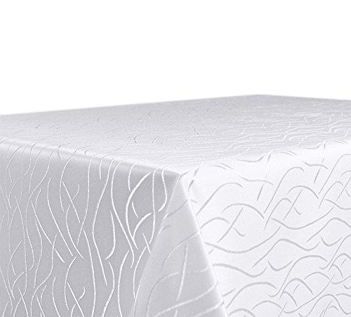 Tischdecke, Farbe wählbar, Streifen Damast Textil, Bügelfrei, Eckig 135x180 cm, Weiß