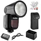 Godox V1-C Flash con Cabeza Redonda para Canon, TTL 1/8000 HSS, Batería de Litio 2600mAh, 1.5 s Tiempo de Reciclaje, 480 Flashes a Plena Potencia