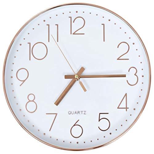 vidaXL Wanduhr 30 cm Rotgold Modern Analog Uhr Bürouhr Küchenuhr Wohnzimmer