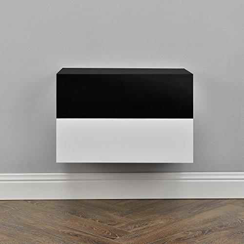 [en.casa] 2 x Mensola da Parete con cassetto - Bianco Laccato Lucido/Nero Laccato Lucido - 46x30x15cm