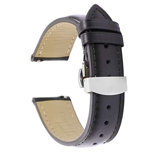 Tstrap Uhrenarmband 20mm Leder - Lederarmband Schnellverschluß Schwarz - Armband Uhrenband mit Faltschließe Faltschliesse Herren Damen Ersatzarmband - 18mm 19mm 22mm