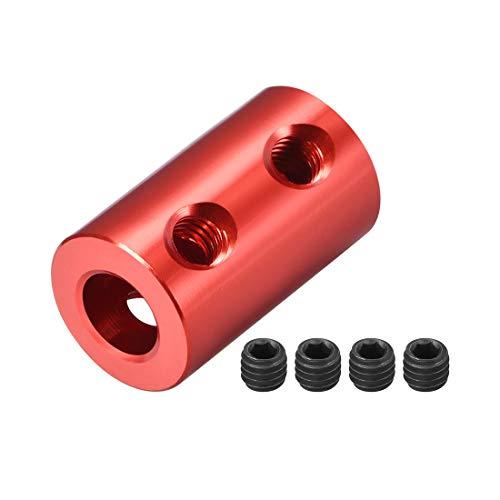 sourcing map Schaft Kupplung Roboter Motor Rad Koppler Rot 5mm zu 6mm Bohrung L20xD12