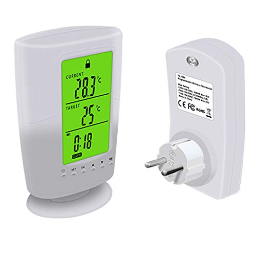 Metermall Lights For Multifunctional Wireless Thermostat Socket LCD Temperature Control Socket European regulations TS-2000-EU