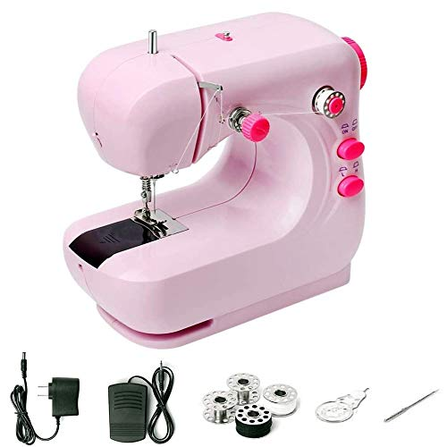 Sewing Machine, YUEMIDAMY Portable Electric Sewing Machine Small Lightweight Handheld Sewing Machine for Sewing Lovers Double Thread with Night Light Suitable for all Types of Fabrics (Pink)
