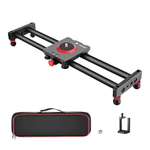 Neewer Camera Slider Carbon Fiber Dolly Rail, 16''/40cm with 4 Bearings, Compatible with iPhone & Android Cell Phones and Mirrorless Cameras, Load up to 2.2lbs/1kg