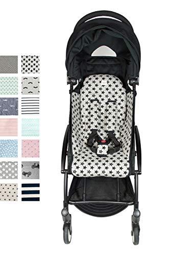 Fundas BCN® F191/9399 - Sitzauflage für den Buggy BabyZen Yoyo + Gurtbezüge - Fun Black Star