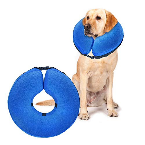 UMARDOO Inflatable Recovery Cone Collar,Blow Up Dog Cone,Soft Post Surgery Collar for Dogs and Cats with Adjustable Buckle (Large, Blue)