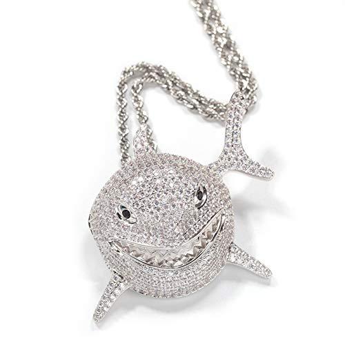 Delisouls Exquisito colgante de tiburón, collar de animales para mujeres y hombres, auténtico relleno de platino de 14 quilates, cadena de acero inoxidable brillante de 61 cm