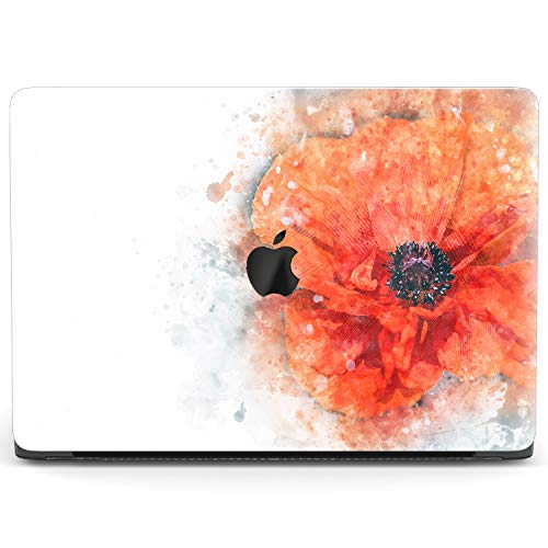 Mertak Hard Case for Apple MacBook Pro 16 Air 13 inch Mac 15 Retina 12 11 2020 2019 2018 2017 Plastic Protective Flower Poppy Abstract Cover Watercolor Laptop Design Painting Red Clear Print