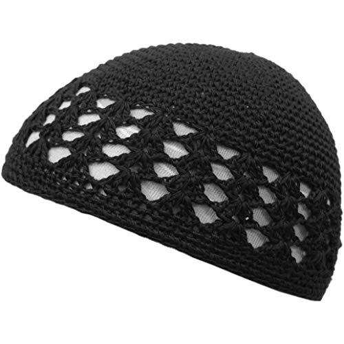 Shoe String King SSK Knit Kufi Hat - Koopy Cap - Crochet Beanie (Black)