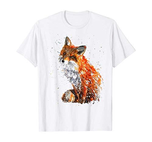 RCY-T Fox Hand Painted Art Men's Divertido gráfico de Manga Corta Impresa Camiseta Personalizada