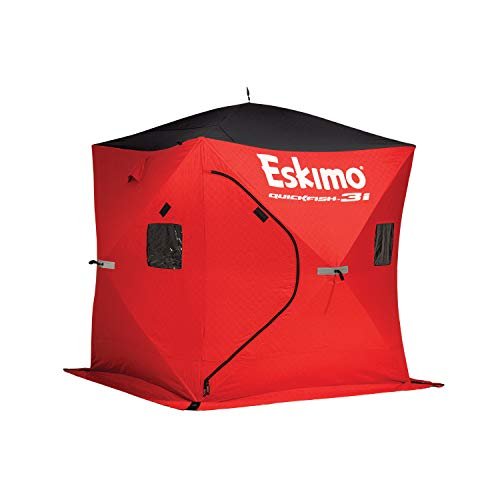 Eskimo 69445 Quickfish 3i Insulated Pop-Up Portable Hub-Style Ice Fishing Shelter, 34 Square Feet of Fishable Area, 3 Person Shelter, Red