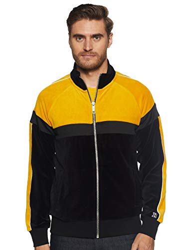 Tommy Hilfiger Men's Jacket (A8AMO135L_Jet Black/Golden Yellow_L)