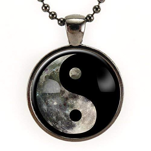 Full Moon Yin Yang Necklace, Space Aesthetic