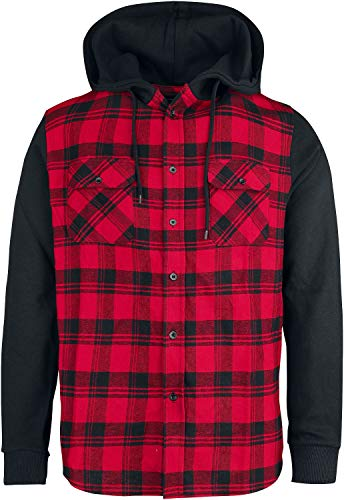 RED by EMP Hooded Checked Flanell Männer Flanellhemd schwarz/rot 4XL 100% Baumwolle Basics, Streetwear
