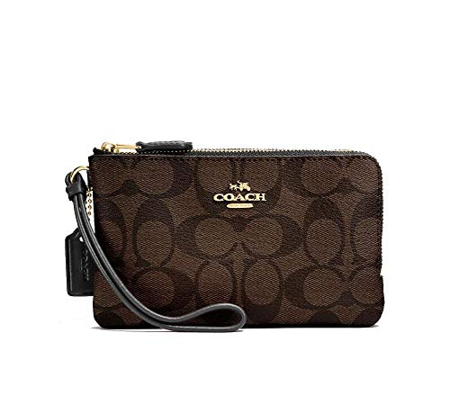 Coach Signature PVC Double Corner Zip Wristlet Wallet, Im/Brown/Black, One Size