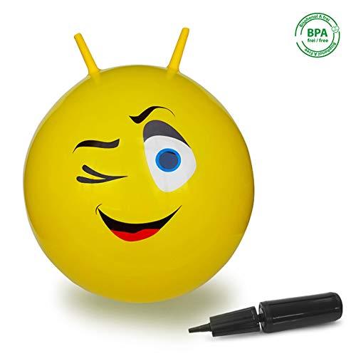Jamara 460459 Hüpfball Eye-bis 50 kg, fördert den Gleichgewichtssinn und die motorischen Fähigkeiten, robust und widerstandsfähig, pflegeleicht, gelb