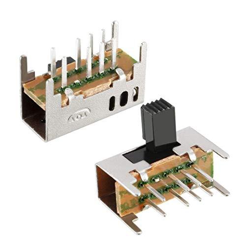 30 Stück 6 mm Kippschalter horizontal DP3T 2P3T 8 Klemmen PCB Panel Schalter mit Verriegelung