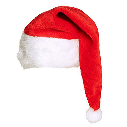 Boland 13403 Bonnet de Père Noël pour Homme et Femme, en Peluche Rouge et Blanc avec Pompon Blanc, Extra Long, agréable pour Noël, fête à thème, Carnaval, décoration de fête