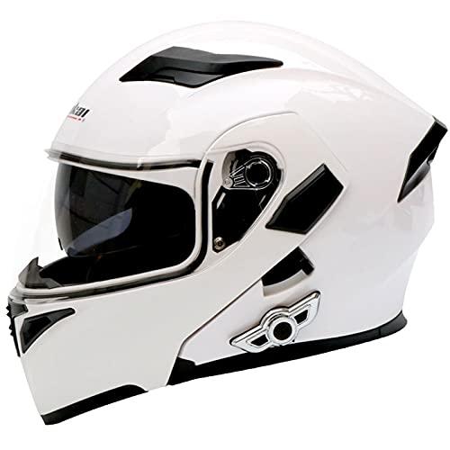 Cascos modulares de motocicleta,Casco Integrado Bluetooth,Cascos modulares de Moto de Visera Doble con Visera Completa,Cascos de Touring para Hombres y Mujeres Adultos,Certificación ECE L,XXL=63~64cm