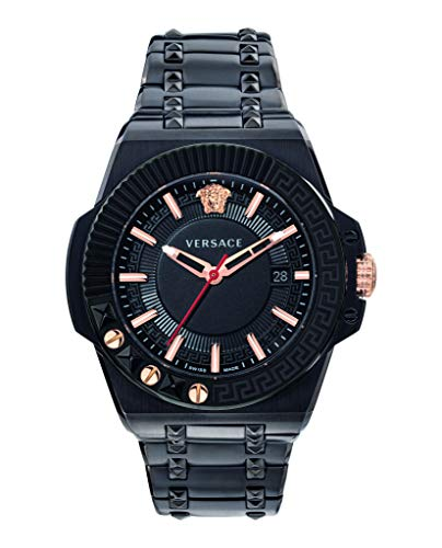 Versace Chain Reaction Men's Swiss Black Ion-Plated Stainless Steel Bracelet 45mm Watch VEDY00719