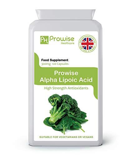 Ácido alfa lipoico 300 mg 120 cápsulas - Antioxidante y soporte para la salud sistémica - Fabricado en el Reino Unido | Estándares GMP de Prowise Healthcare