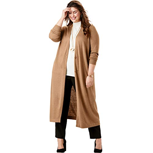 Jessica London Women's Plus Size Fine Gauge Duster Sweater - 18/20, Brown Maple