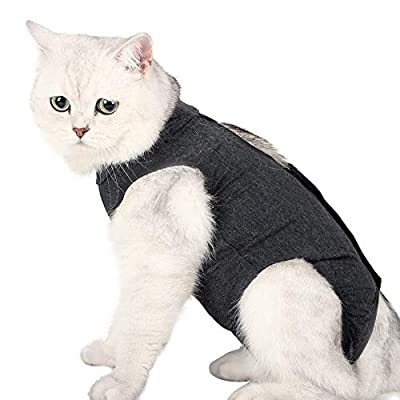 LIANZIMAU Cat Recovery Suit With Anti Licking For Surgical Abdominal Wounds Soft Breathable Home Indoor Pet Clothing E collar Alternative For Cats Dogs After Surgery Wear Pajama Suit