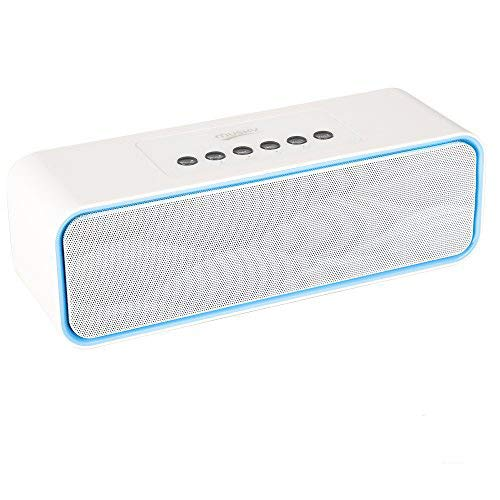 Portable Bluetooth Stereo Speaker, with 2x5W Acoustic Drivers, Dual Subwoofer, FM Radio, Handsfree Speakerphone, Slots for Micro SD Card, USB and AUX-in, for Smart Phone, MP3, MP4, iPad, Tablet