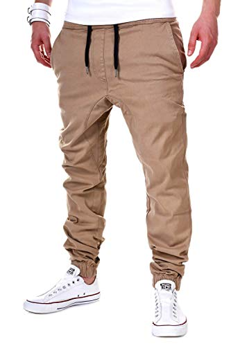 behype. Herren Chino-Hose Stretch Low Crotch Basic Jeans-Hose 80-0006 Beige XL/W36